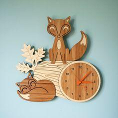 Wood Nursery Wall Clock: Fox Woodland Forest Animal Bamboo Decor for Baby, Boy, Girl, Kids, Children Wood Nursery, Woodland Nursery Decor, Woodland Animals Theme, Room Deco, Child's Room, Clock For Kids, Bamboo Wall, Wood Animal, Wood Clocks