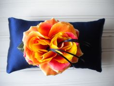 Coral Rose Ring Bearer Pillow on Etsy, $25.00