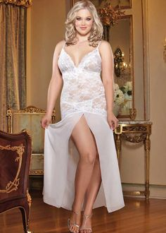 Plus size long white gown. Lingerie for your wedding night, honeymoon or bridal shower.
