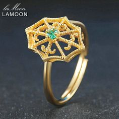 LAMOON Spider Web 2.5mm Round Cut Green Emerald 925 Sterling Silver Jewelry Wedding Ring with 14K Yellow Gold Plated LMRI050