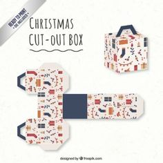 Cute christmas box in cube style