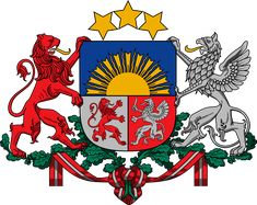 Coat of arms of Latvia (the red lion of Courland and the silver griffin of Livonia.