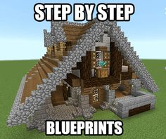 Get step by step blueprints for this house plus a bunch more! Minecraft Blueprints by Drake Craft Easy Minecraft Houses, Minecraft Castle, Minecraft Plans, Minecraft Houses Blueprints, All Minecraft, Minecraft Construction, Minecraft Survival, Minecraft Tutorial, Minecraft Designs