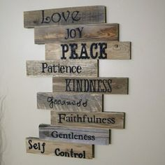 Wooden plaque ideas wood sign pallet sign pallet art fruits of the spirit scripture art wall decor wood plaque wedding gift wooden sign distressed wood on Diy Pallet Wall, Pallet Art, Diy Pallet Projects, Wood Pallet Crafts, Diy Home Decor Projects, Crafts Out Of Pallets, Pallet Wall Bedroom, Easy Small Wood Projects, Repurposed Wood Projects