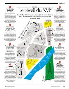 Carte du XVIe arrondissement de Paris illustrée par Lisa Laubreaux pour le Nouvel Obs Slow Galerie, Paulette Magazine, Space Opera, Lisa, Paris, Illustration, Editorial, Map, Arrondissement