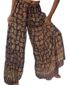 IndianWide Leg Palazzo Pants | Boho Gypsy Cool Summer Wide Leg Palazzo Pants Batik Black Blue Trouser ...