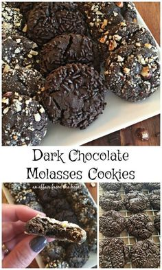 Dark Chocolate Molasses Cookies - An Affair from the Heart -- Soft dark chocolate molasses cookies, roll them in hazelnuts or sprinkles — and enjoy! Molasses Cookies, Chocolate Cookies, Chocolate Desserts, Molasses Recipes, Cookie Recipes, Dessert Recipes, Nutrition, Homemade Chocolate, Vegetarian Chocolate
