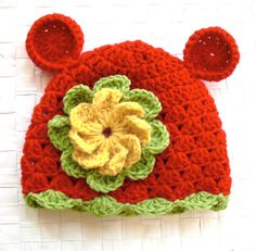 Crochet Animal baby hat Children Clothing Kids Hat Bear by Ebruk