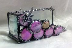 Stained Glass Business Card Holder -- Pink Fairy and Dragonfly