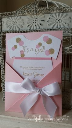 The baby shower of your dreams starts with the perfect invitation! And I have created it just for you! Stunning gold glitter and pink