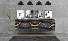 Sideboard OXARA. Luxury furniture. High gloss finish. Handmade