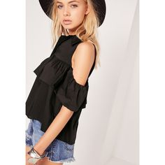 Missguided Frill Detail Bardot Shirt ($31) ❤ liked on Polyvore featuring tops, black, ruffle shirt, frill top, ruffle top, flutter-sleeve top and frilly shirt