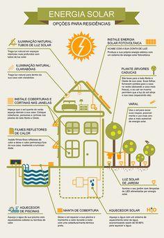 Infográfico sobre Energia Solar e alternativas de redução da conta de luz. http://www.portalsolar.com.br/energia-solar-residencial.html