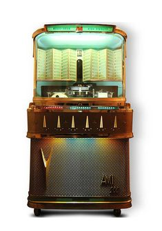 "Jukebox AMI In Spearmint Green. A classic model of the ""Silver Age"". Music Hits, Music Radio, Rock And Roll, Audio Room, Vintage Telephone, Arcade Machine, Record Players, Phonograph, Silver Age"