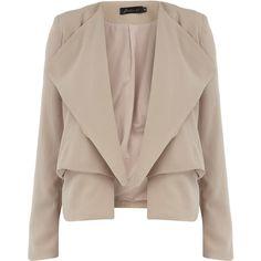 Cream lightweight blazer (885 EGP) ❤ liked on Polyvore featuring outerwear, jackets, blazers, casacos, coats, cream, brown jacket, cream blazer, blazer jacket and cream jacket