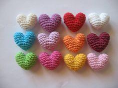 12 Crocheted Mini Corazones - 3D - Mezcla De Colores