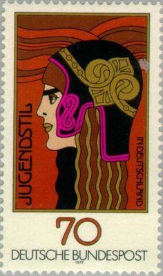 * Postzegel: Athena-head with helmet, ornament (Duitsland - Bondsrepubliek) (Art Nouveau in Germany) Mi:DE 924,Yt:DE 771