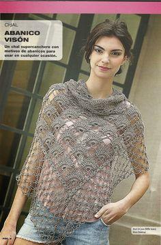 Patrones Crochet: Chal entre punto Abanico y punto Salomon con esquema de punto e instrucciones en español.