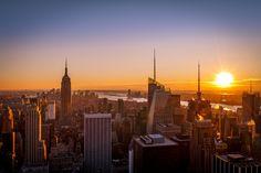 Sunset over Manhattan - null Manhattan, New York Skyline, Sunset, Travel, Sunsets, Viajes, Trips, Traveling, Tourism