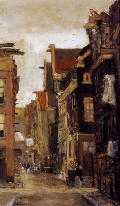 Spiegelstraat in Amsterdam, Floris Arntzenius. Dutch - Still looks basically the same, though not quite as tilty. Paintings I Love, Your Paintings, Monuments, Amsterdam Art, Alberto Giacometti, Dutch Artists, Famous Artists, European Paintings, Dutch Painters
