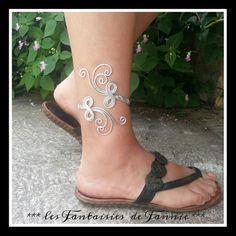Bracelet cheville aluminium *Scintillante* design fait main argenté