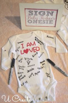 Shower Idea: Sign the Onesie Replace The Standard Guest Book With This Baby Shower Onesie Sign In Idea.Replace The Standard Guest Book With This Baby Shower Onesie Sign In Idea. Baby Party, Baby Shower Parties, Baby Shower Gifts For Guests, Baby Shower Party Favors, Baby Shower Souvenirs, Baby Shower Presents, Baby Presents, Kid Parties, Juegos Baby