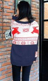 Christmas deer geometric pattern pullover sweater dark blue