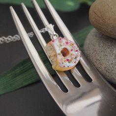 White Vanilla Doughnut Necklace with a bite  Donut by Jollibeadz, $12.00