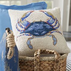 Blue Crab Seashore Hooked Pillow | Each pillow in this seaside-inspired collection features hooked construction with 100% wool for a textural feel as well as detailed color variation.