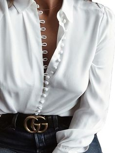 White Long Sleeve Button V Neck Casual Blouse