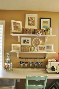 @Rhonda Alp, instead of bookshelves, do you want to hang shelves like these?! Could be super cute & fun... do like 5, one on top of the other from the ground up