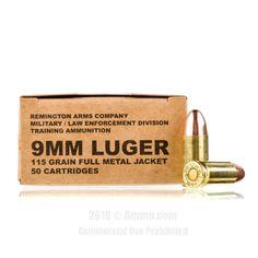 Remington MIL / LE Contract Overrun 9mm Ammo - 500 Rounds of 115 Grain FMJ Ammunition #Remington #RemingtonAmmo #9mmAmmo #9mm #FMJ