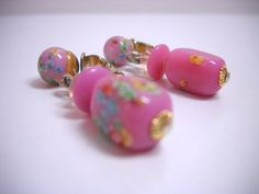 Vintage Pink Clip On Earrings Venetian Frosted Art Glass Millefiori Pink Glass Dangles. $18.99, via Etsy.