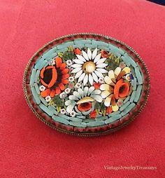 Antique Art Deco Italian Glass Micro Mosaic Multi Color Flower Design Brass Pin #Italy