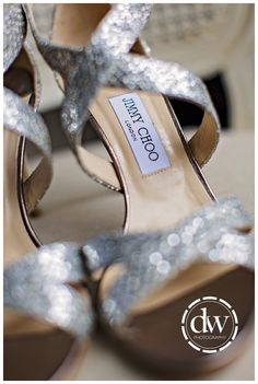 Brides Jimmy Choo wedding shoes at home in Bedfordshire