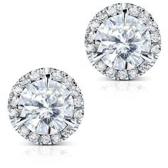 Round Moissanite and Diamond Stud Earrings 3 1/4 Carat (ctw) in 14k... ($1,350) ❤ liked on Polyvore featuring jewelry, earrings, accessories, 14k earrings, diamond jewelry, stud earring set, white gold stud earrings and 14 karat gold earrings