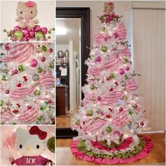 Are you a Hello Kitty fan? If so, you'll love these adorable Hello Kitty bedroom decoration! 25 cute bedroom designs for Hello Kitty fanatics. Hello Kitty Christmas Tree, Noel Christmas, All Things Christmas, Christmas Crafts, White Christmas, Rustic Christmas, Christmas Ideas, Pink Christmas Tree Decorations, Creative Christmas Trees