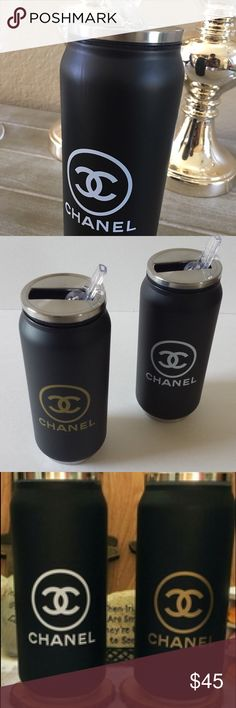 Vacuum stainless cup drink coffee 500ml w/ straw Chanel logo CC black white CHANEL Other