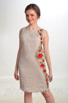 """Румяна. Платье с вышивкой по одному боку. Серый лен. Светлый лен - Интернет-магазин игрушек, брендовых аксессуаров для детей, вышиванок """"YaCool"""" в Харькове"""