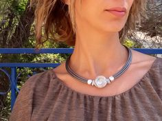 silver necklace, wrapped stone  necklace, leather necklace, statement necklace, gift for her, bridesmaid necklace, any occasion necklace. by danielapalatnik on Etsy https://www.etsy.com/listing/230366143/silver-necklace-wrapped-stone-necklace