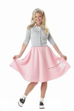 Prepare for any throw back dance or Halloween event with this pink poodle skirt. This is a Halloween costume style that has lasted the test of time and it isn't going anywhere! Poodle Skirt Halloween Costume, 50s Halloween Costumes, Sock Hop Costumes, Grease Costumes, Costume Dress, 1950s Costumes, Nerd Costumes, 70s Costume, Vampire Costumes