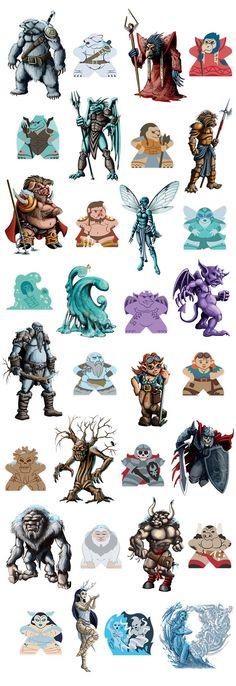 Character Design Kickstarter : Character meeples by meeple source — kickstarter