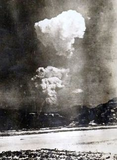 A photo showing the mushroom cloud from the atomic bombing of Hiroshima on Aug. 6, 1945, split into two parts (Provided by Honkawa Elementary School)