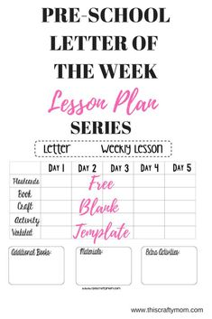 Looking for free preschool lesson plans? This post is a kick-off to a complete series of FREE letter of the week lesson plans and includes a FREE lesson plan template. Teacher Lesson Plans, Kindergarten Lesson Plans, Preschool Curriculum, Preschool Lessons, Preschool Planner, Homeschool, Preschool Classroom, Classroom Ideas, Lesson Plans For Toddlers