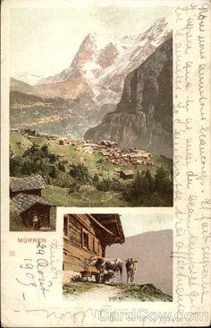 Aerial view of Alpine Village Murren Switzerland
