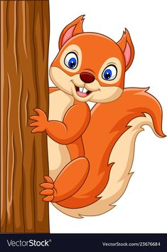 Cartoon cute squirrel climbing on a tree Vector Image hashtags Baby Animal Drawings, Art Drawings For Kids, Easy Drawings, Art For Kids, Cartoon Kunst, Cartoon Drawings, Cartoon Art, Squirrel Clipart, Squirrel Illustration