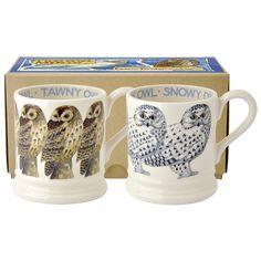 Snowy Owl & Tawny Owl 2x 1/2 Pint Mugs Boxed