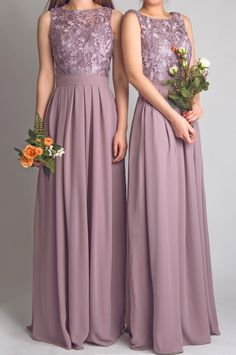 Purple wedding ideas - elegant lace lavender bridesmaid dresses with flowing chiffon skirt