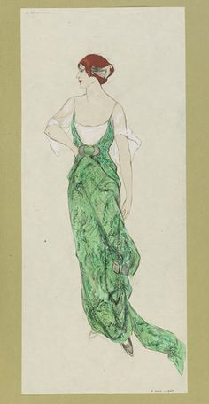 1912 Draped and trained evening dress in green and silver brocade with white chiffon sleeves. | Jeanne Paquin | V&A Search the Collections