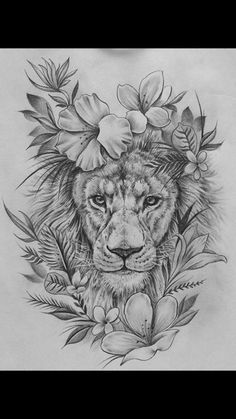 15 most amazing tiger tattoos for women - diy tattoo images - Tattoo Designs For Women Skull Tattoos, Body Art Tattoos, Girl Tattoos, Sleeve Tattoos, Leo Lion Tattoos, Tattoo Drawings, Flower Drawings, Tattoos Of Lions, Thigh Sleeve Tattoo